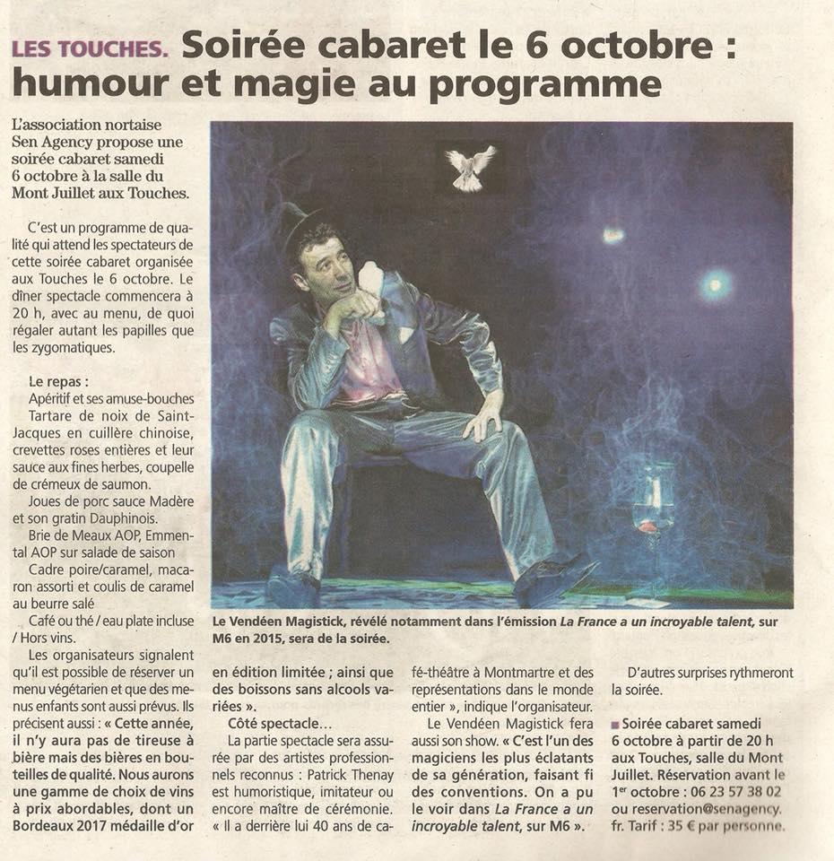 Spectacle Cabaret 44 Loire Atlantique magicien Magistick